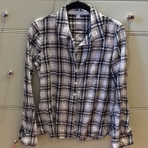 James Perse plaid check cotton shirt
